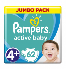 Подгузники Pampers Active Baby-Dry 4+ 9-16кг 62шт