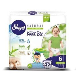Трусики Sleepy Natural 6 XLarge 15-25 кг - 20 шт