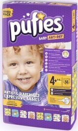 Подгузники Pufies Baby Art & Dry 4+ Maxi Plus (9-16кг) 56шт