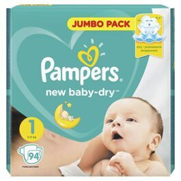 Подгузники Pampers New Baby-Dry 1 (Newborn) 2-5кг 94шт